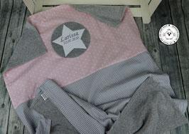 ❤️ Decke Sternenstoff hellrosa mit Streifen grau - Modell 16