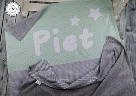❤️ Decke Sterne mint & Streifen grau - Modell 8A