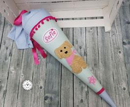 Schultüte Hund mit Sternen- mint/helblau/pink- Modell 8