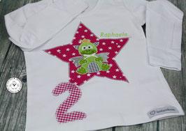 ❤️  Geburtstagsshirt Drache - fuchsia/grün - Strass - Modell 1 Langarm