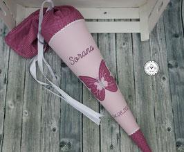 Schultüte Schmetterling - rosa/mauve - Modell 2