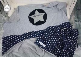 ❤️  Decke mit Sternen dunkelblau & Vichy grau - Modell 5