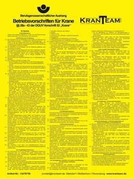 Betriebsvorschriften für Krane DGUV V52
