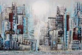 Abstraktes Gemälde, Skylines, Handgemalt, UNIKAT