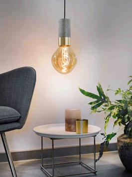 Edler heller Beton-Pendel gold, silber oder kupfer + Stoffkabel, E27