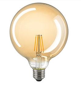 LED Globelampe Filament 2500 K, E27, 125mm, Dimmbar, Gold