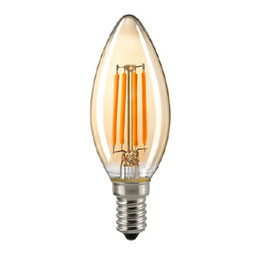 LED Kerzenlampe, E14, Filament, 2500 K, dimmbar, Gold