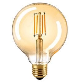 LED Globelampe Filament 2500 K, E27, 95mm, Dimmbar, Gold