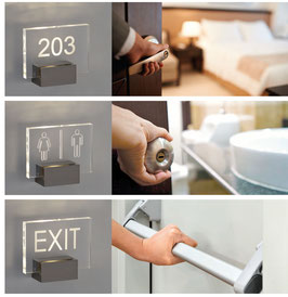 LED-Schilder klares Glas - Wegweiser, WC, Zimmernummern