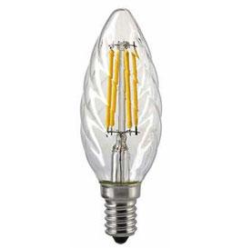 LED Kerzenlampe gedreht, E14, Filament, 2700 K, Dimmbar, Klar