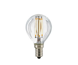 LED Kugellampe, E14, Filament, Dimmbar, Klar