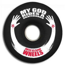 "ROUES ANTIZ ""My God rides a skateboard"""
