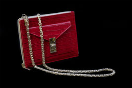 """FRONTTASCHE """"KROKO LACKIERT"""" ROT - FRONTBAG """"CROCO VARNISHED"""" RED"""