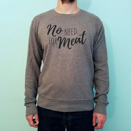 "Sweatshirt ""no need for meat"" in grau meliert"