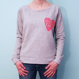 "Sweatshirt ""vegan means love"" in grau meliert"