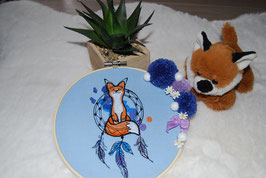 Tambour brodé renard attrape rêves