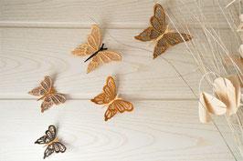 Papillons muraux marron et beige
