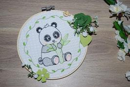Tambour brodé panda