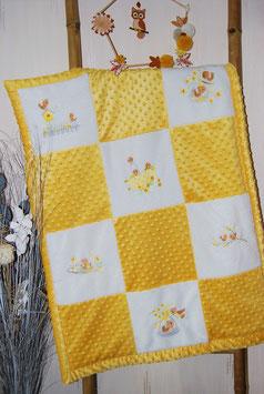Couverture minky oiseaux jaune moutarde