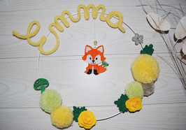Couronne prénom bébé renard tricotin