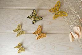 Papillons muraux jaune et gris