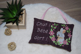 Coussin Lapin prune