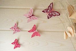Papillons muraux roses