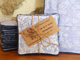 Carré démaquillant Tissu Vintage Fleuri Bleu et Blanc