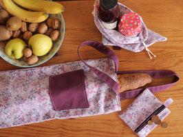 Sac à Pain en Tissu Fleuri Mauve avec Poche Violette et Porte Monnaie Fleuri