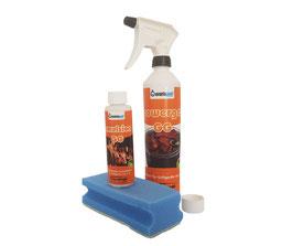 Feuerdesign Reinigungs- und Pflegeset: Powergel GG + Emulsion + Reinigungsschwamm