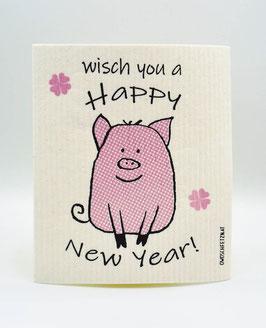 """Owoschfetzn """"Pig Ben - Wisch you a Happy New Year!"""" pink"""