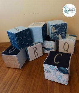 Cubes prénom Bleu Mer - personnalisable
