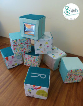 Cubes prénom Vert Fleuri - personnalisable