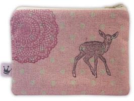 Mini Täschchen Leinen «Bambi» rosa