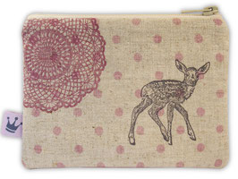 Minitäschchen Leinen «Bambi» lila