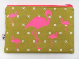 Maxitäschchen «Flamingos» Neonpink