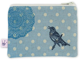 Minitäschchen Leinen «Vogel» Blau