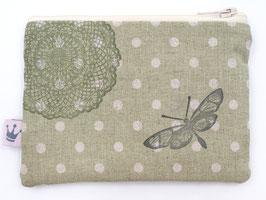 Mini Täschchen Leinen «Schmetterling» Grün