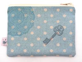 Mini Täschchen Leinen «Schlüssel» Blau