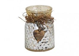 Windlicht aus Glas mit Herz