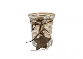 Windlicht aus Glas mit Holz Stern ( Anhänger )