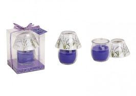 Windlicht Lampe aus Glas mit Duftwachs Lavendel