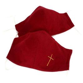 Textile Mund-Nasen-Maske in verschiedenen liturgischen Farben, auf Wunsch mit Kreuz oder anderen religiösen Symbolen, je nach Ausführung ab € 15,00