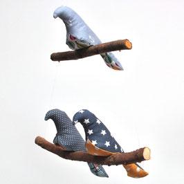 Mobile 3 oiseaux tons de gris