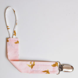 Attache sucette Klipette colombe rose