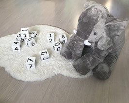 Houten speelblokken cijfers/getallen wit