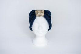 Stirnband dunkelblau/beige