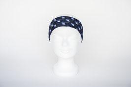Haarband einfach, blau gemustert
