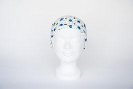 Haarband einfach, blau-weiß geblümt