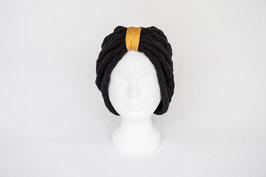 Turban schwarz senfgelb/weiß gepunktet